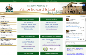 PEI Legislative Assembly website