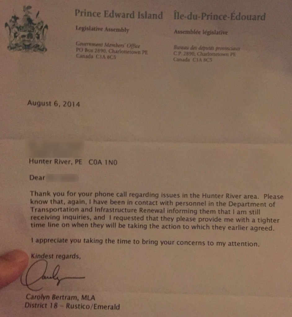 Bertram letter re Traffic Issues - August 2014 - blurred