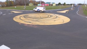 Roundabout skid marks