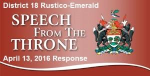 Trivers 2016 Response to Throne Speech