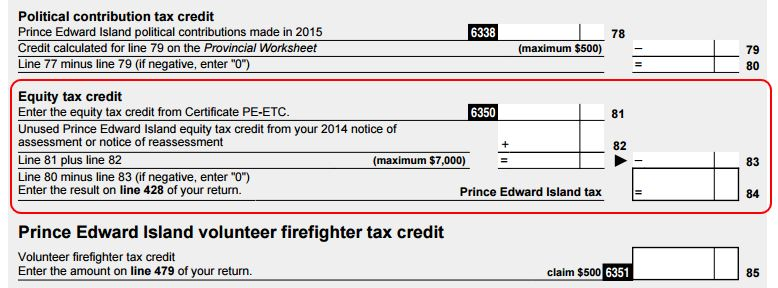 PEI Tax and Credits - PE428 - Equity Tax Credit