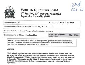 Written question 126 - Power Purchase Agreement not available