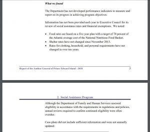 PEI Auditor General - Social Assistance Program summary